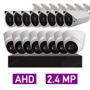پکیج کامل 16 دوربین مداربسته 2 مگاپیکسل AHD پلاستیکی